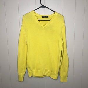 Zara Man Cotton Bright Yellow Sweater Medium